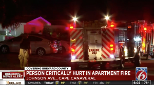 Cape Canaveral, FL Apartment Fire Injures Two People, One Critically.